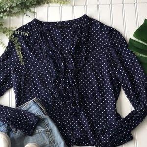 Zara Navy blue cream white polka dot ruffle blouse